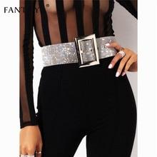 Fantoye 2019 New Rhinestone Womens Belt  Fashion Shiny Diamond Crystal Waistband Female Luxury Gold Silver Waist Party Belt