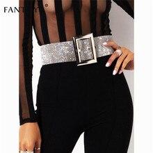 Fantoye 2019 nowy Rhinestone pasek damski moda błyszczący diament kryształ pas kobiet luksusowe złoty srebrny pas Party