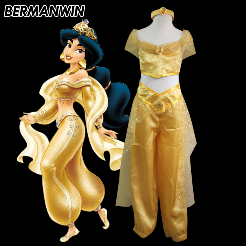 BERMANWIN High Quality Princess Jasmine Dress yellow Jasmine Costume with headwear Girls Women Halloween Cosplay Costume