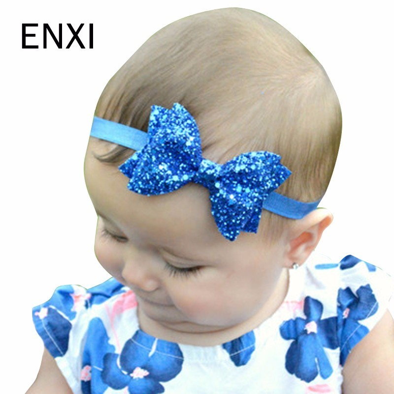 ENXI Sparkling Hair Accessories Bow Baby Girl Headbands Elastic Multicolor Infant Baby Headband Birthday Party Headwear 12pcs hair accessories mickey minnie mouse ears solid black sequins headbands headwear for boy girl birthday party celebration