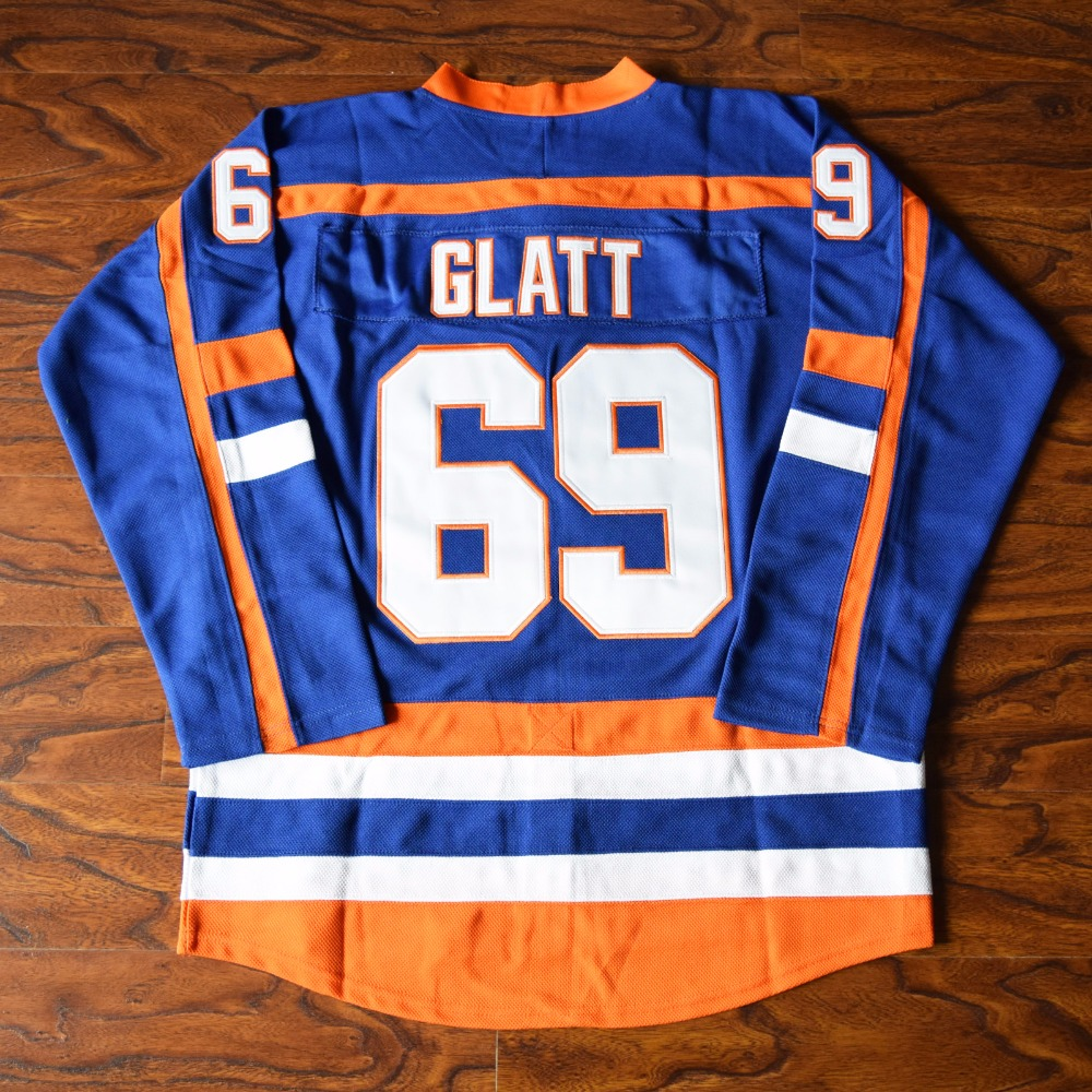 MM MASMIG Doug Le Voyou Glatt #69 Halifax Montagnards Hockey Sur Glace Jersey Piqué Bleu