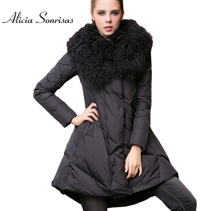 Plus Size 3XL 4XL Women Long Winter Down  Jacket 100% Real Big Lapel Lamb Fur Collar Thick Warm Cotton Padded Black Green Parkas
