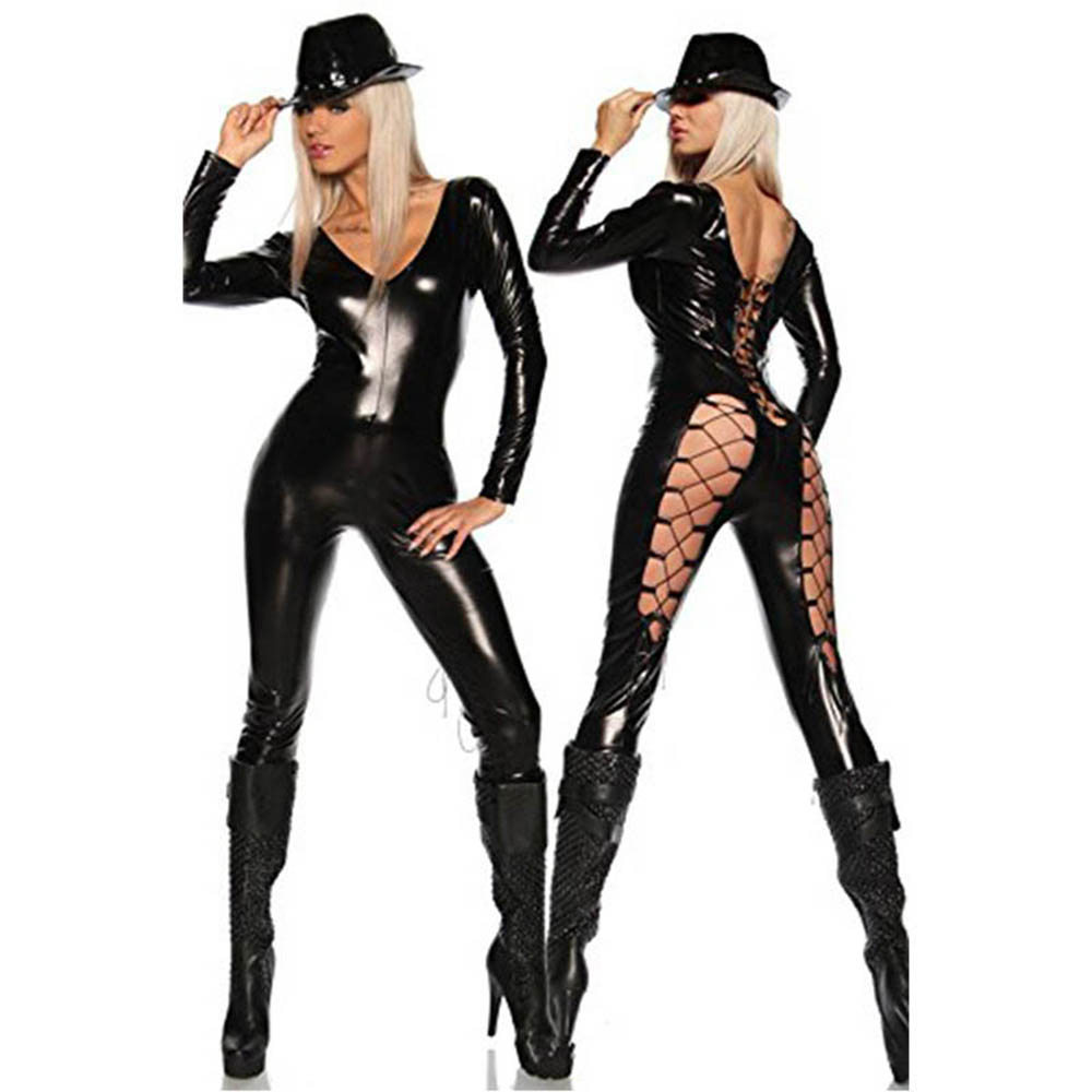 Sexy Faux Leather Catsuit Bodysuit Hollow Out Back Design Lace-up Design Women Vinyl Long Jumpsuit Sexy Clubwear