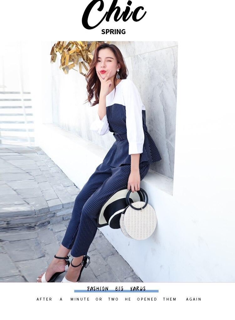 Office Lady Elegant 2PCS Pant Suit Set Women Blue Stripes Blouse And Trouser Suit Business Casual Outfits Woman Top With Pants Set Plus Size Clothings (8)