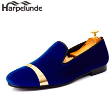 Harpelunde Slip On Men Wedding Shoes Blue Velvet Loafers Gold Plate Handmade Footwear Size 7-14