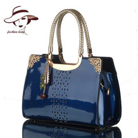 Luxury Brand Fashion Patent Leather Women Handbag Sac A Main Female Hollow Out Exquisite Ladies Black Messenger Shoulder Tote