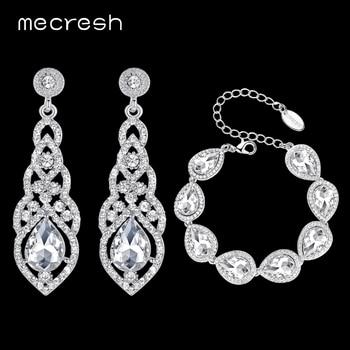 Mecresh Clear Crystal Bridal Jewelry Sets Teardrop Bracelet Earrings Sets Wedding Jewelry for Women Classic Style EH444+SL051