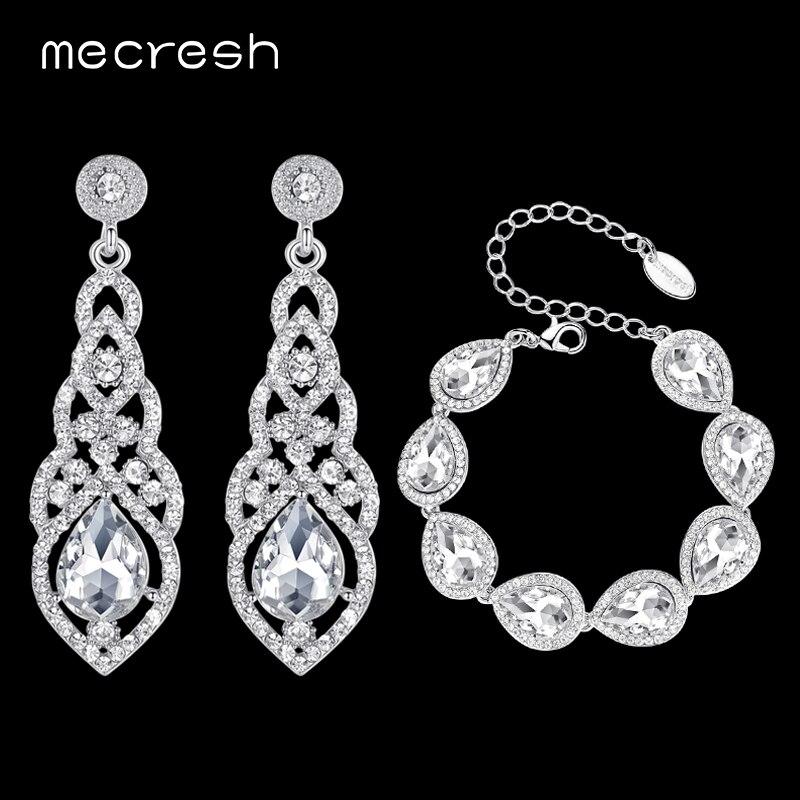 Mecresh Clair Cristal De Mariée Bijoux Ensembles Larme Bracelet Boucles D'oreilles Ensembles De Bijoux De Mariage pour les Femmes Classique Style EH444 + SL051