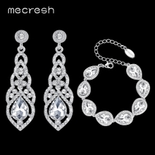 hot deal buy mecresh clear crystal bridal jewelry sets teardrop bracelet earrings sets wedding jewelry for women classic style eh444+sl051