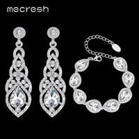 Mecresh Clear Crystal Bridal Jewelry Sets Teardrop Bracelet Earrings Sets Wedding Jewelry For Women Classic Style