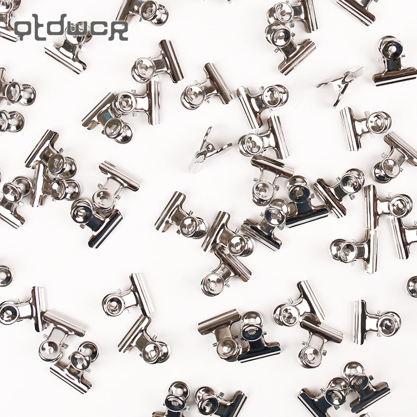 12PCS/set Mini Bulldog Clips Letter Clips Stainless Steel Silver Metal Paper Binder Grip Clips Clamp 22mm Office Tool Supplies