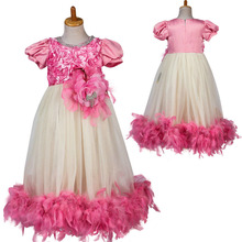 fashion high qulaity short sleeve tea length feather fluffy girls prom party dress