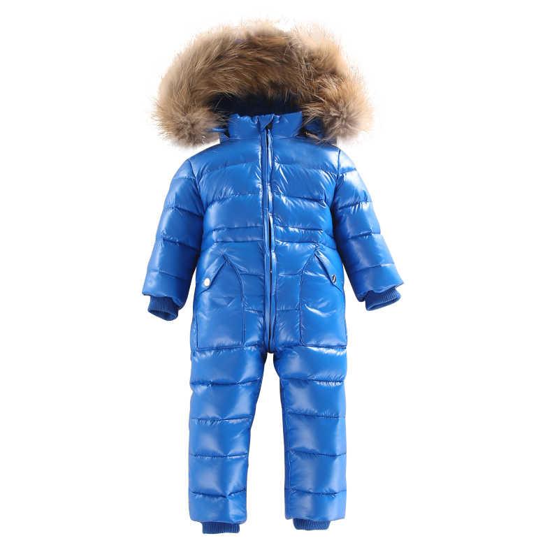 2018 ילדי סרבלי תינוק חורף ברווז למטה Rompers בנות בני סרבל חליפת שלג מעיל חם בד ילדי סרבל תינוק הלבשה עליונה
