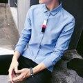Korean Slim Fit Men Shirt Patchwork Plus Size 5XL Fashion Dress Shirts Male Brand Long Sleeve Casual Man's Shirt Chemise Homme