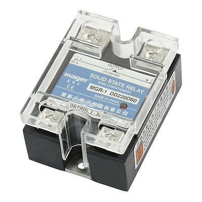 DC-DC 3-32V 24-220V 60A Rectangle Clear Cover Single Phase Solid State Relay normally open single phase solid state relay ssr mgr 1 d48120 120a control dc ac 24 480v