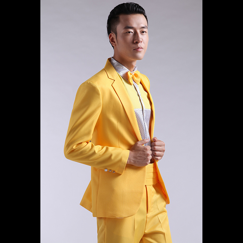 Latest Coat Pant Designs Yellow Formal Men Suit Skinny Prom Marriage Blazer Groom Party Gentle ...