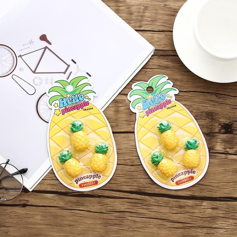 (3 Pieces/lot) Kawaii Pineapple Eraser Cartoon Fruit Eraser Student School Supplies