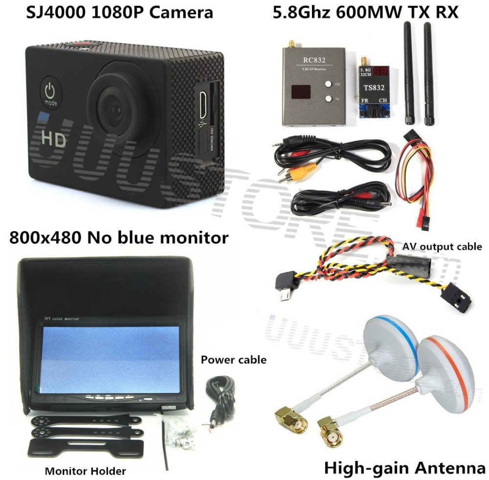 FPV Combo System boscam 5 8ghz 600mw transmitter receiver No blue monitor SJ4000 Camera for walkera