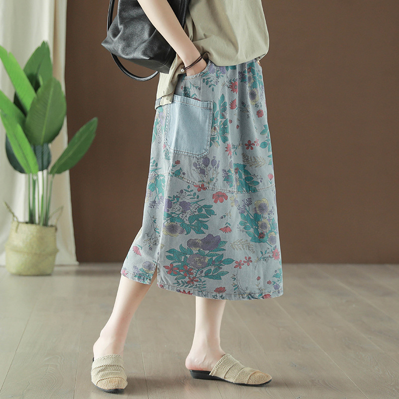 2019 New Summer Woman Vintage Denim Long Skirt Floral Print Pocket Loose Casual Jeans Skirt Female Elastic Waist Oversized Skirt in Skirts from Women 39 s Clothing