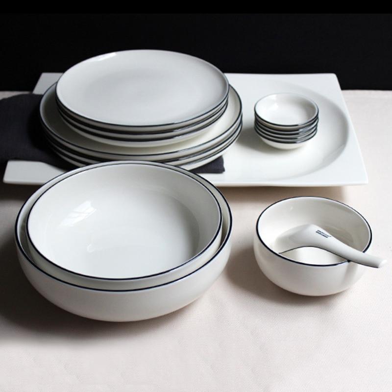 JK Home 1 PcsCeramic Plate Bowl Set Sample Ivory White ...