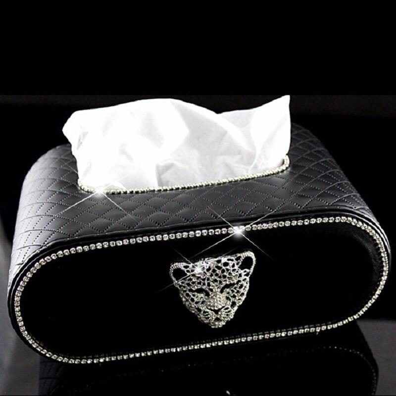 Boîte à mouchoirs de voiture de Type bloc créatif avec tête de léopard en cristal frais étui de couverture en papier serviette brillant pour hommes et femmes rouge noir