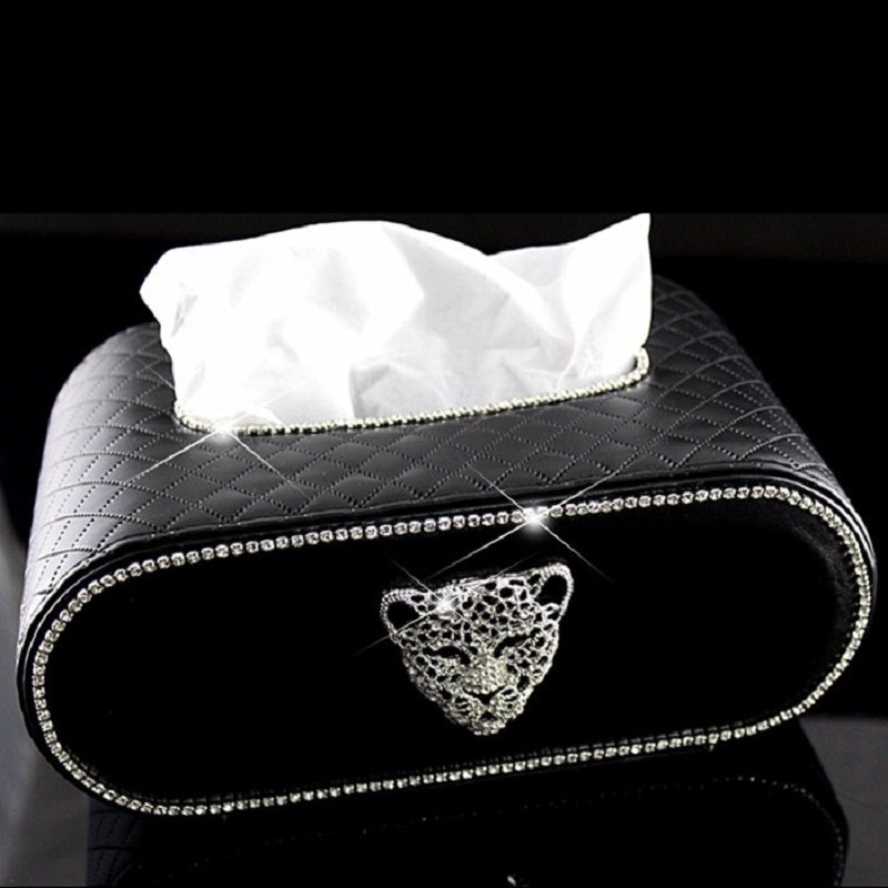 Creative Block Type Car Tissue Box with Cool Crystal Leopard Head Sparkly Towel Paper Cover Case for Men and Women Red Black