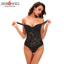 Купить с кэшбэком SEBOWEL Black/White Lace Bodysuit Women Summer Sexy See Through Skinny Body Jumpsuit Femme Romper Combinaison Shorts Playsuits