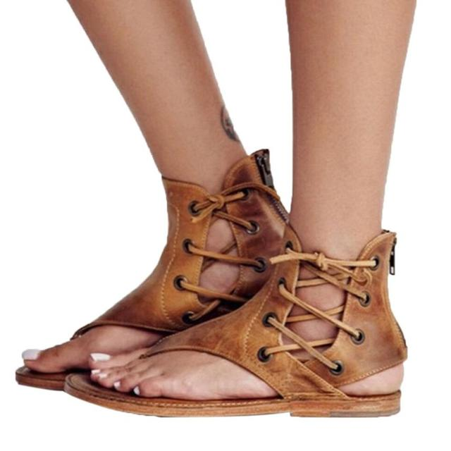 843247d52f5ab 2019 Summer Women Pinch Flat-Bottomed Roman Sandals Strappy Sandals Ankle  Flat Straps Shoes Casual Comfortable Sandals Shoes  AA