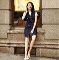 Женщины Лето Осень Рукавов Твердые Длинный Жилет Куртки Мода Офис Дамы Двойной Брестед Blazer Жилеты И Пиджаки Жилет