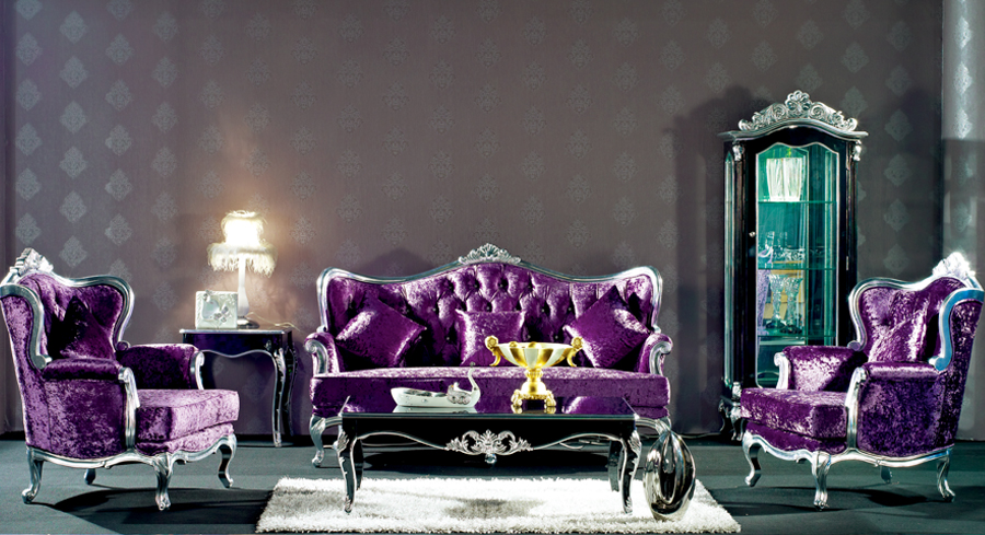 Astounding European Style Refined Wood Carved Decorative Purple Sofa Theyellowbook Wood Chair Design Ideas Theyellowbookinfo