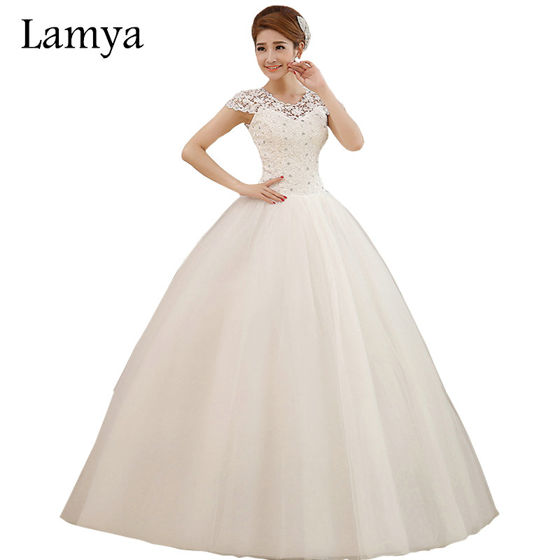 Cheap Plus Size Ball Gown Wedding Dresses: Cheap Plus Size Sexy Short Lace Sleeve Wedding Dress Lamya