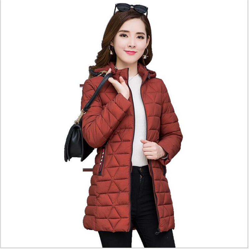 Women   Parkas   2019 Winter coat Female Warm Middle-Long Slim Hooded autumn jacket women Outwear   Parkas   6XL G144