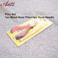 1pc Hook Needle with 1pc Bend Head plier Bend tip pliers clamp micro loop hair extension tools for Hair Extension