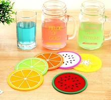 2015 Colorful fruit jelly color cup mat Silicone Coaster Coffee Table Cup Mats Pad Placemat Kitchen Accessories