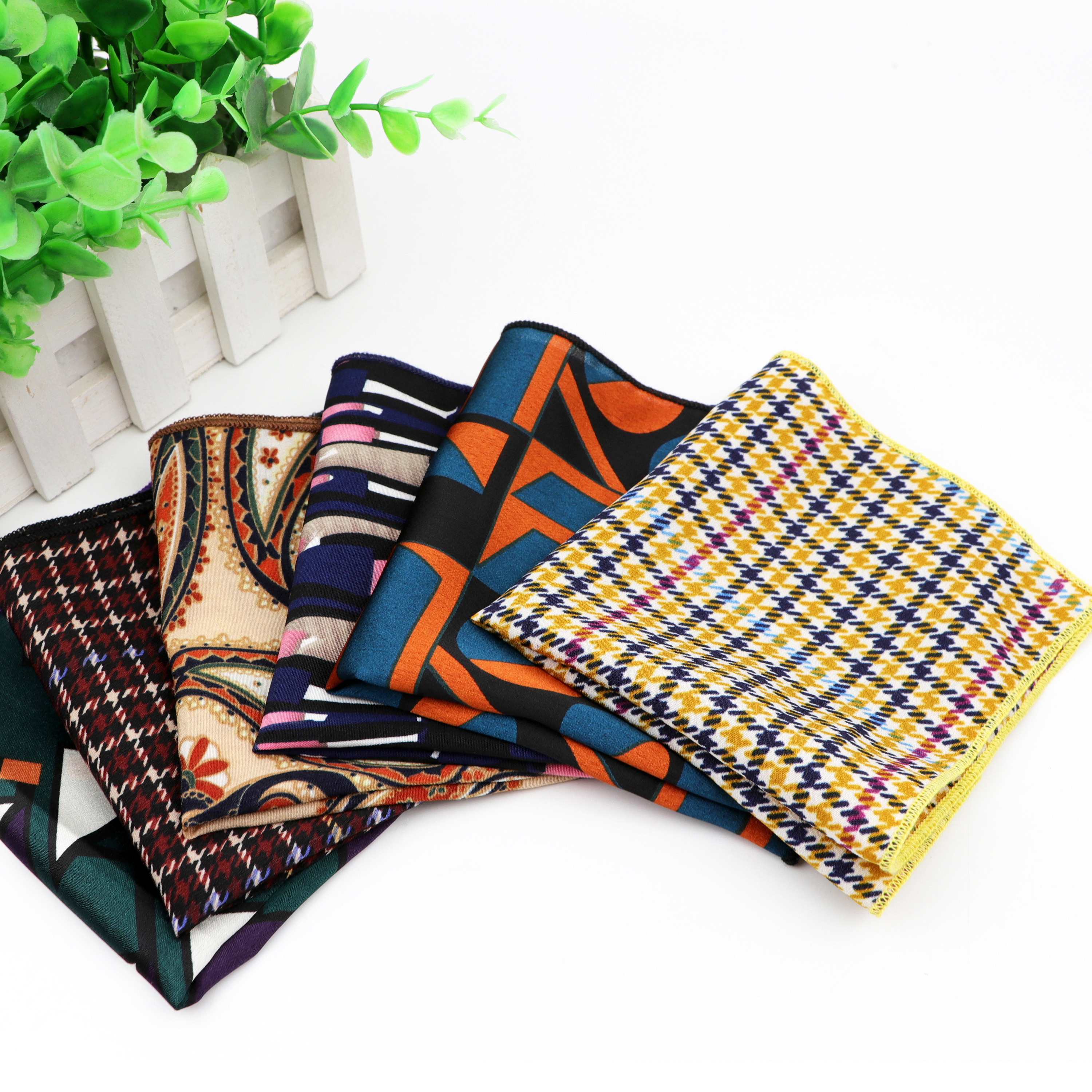 Chiffon Handkerchief Vintage Polyester Hankies Men's Pocket Square Handkerchiefs Striped Geometric Scarves