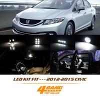 11Pcs Kit White Interior Light Package For 2012 2015 Civic LED 6000K