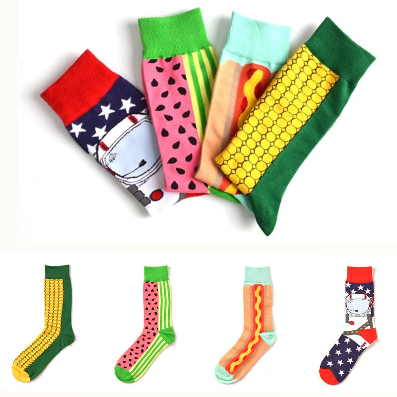 1 Pairs Summer Happy Socks Men High Ankle Cotton Socks Fashions Colorful Funny Patterned Casual Sock