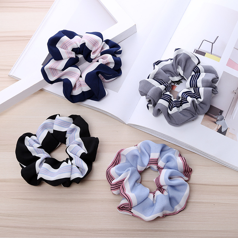 New Fashion Scrunchies Womens Elasticity Hair ring Girl Ponytail Hairband  Rope Stripe Accessories