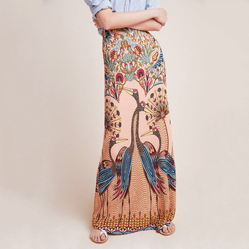 Women's Skirts Peacock Maxi Skirts Printing Boho Pencil Long Skirts Low Waist Sexy Tight Skirts Dropped Holiday Gothic Skirts фото