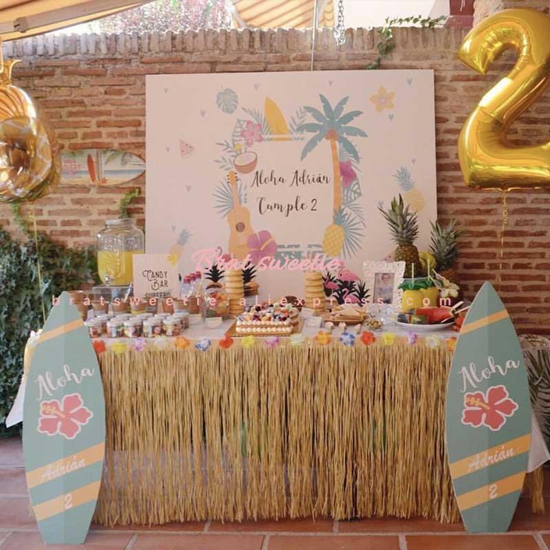 Гавайские украшения для вечеринки, искусственные тропические цветы, трава, Настольная юбка, фламинго, вечеринка на день рождения