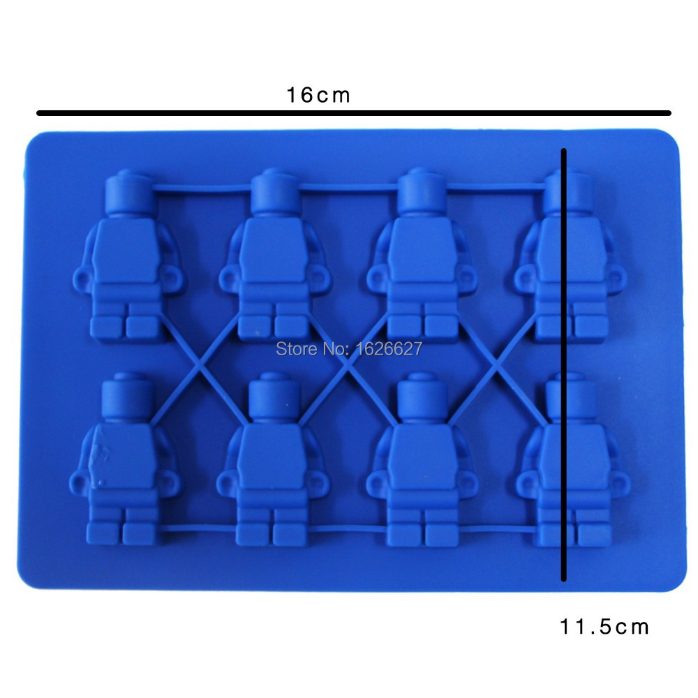 Silicone Mold 8x Silicone Robot Ice Mold Ice Cream Tools Cream Tubs Silicone Lego Mold Cake Mold Color Blue and Yellow