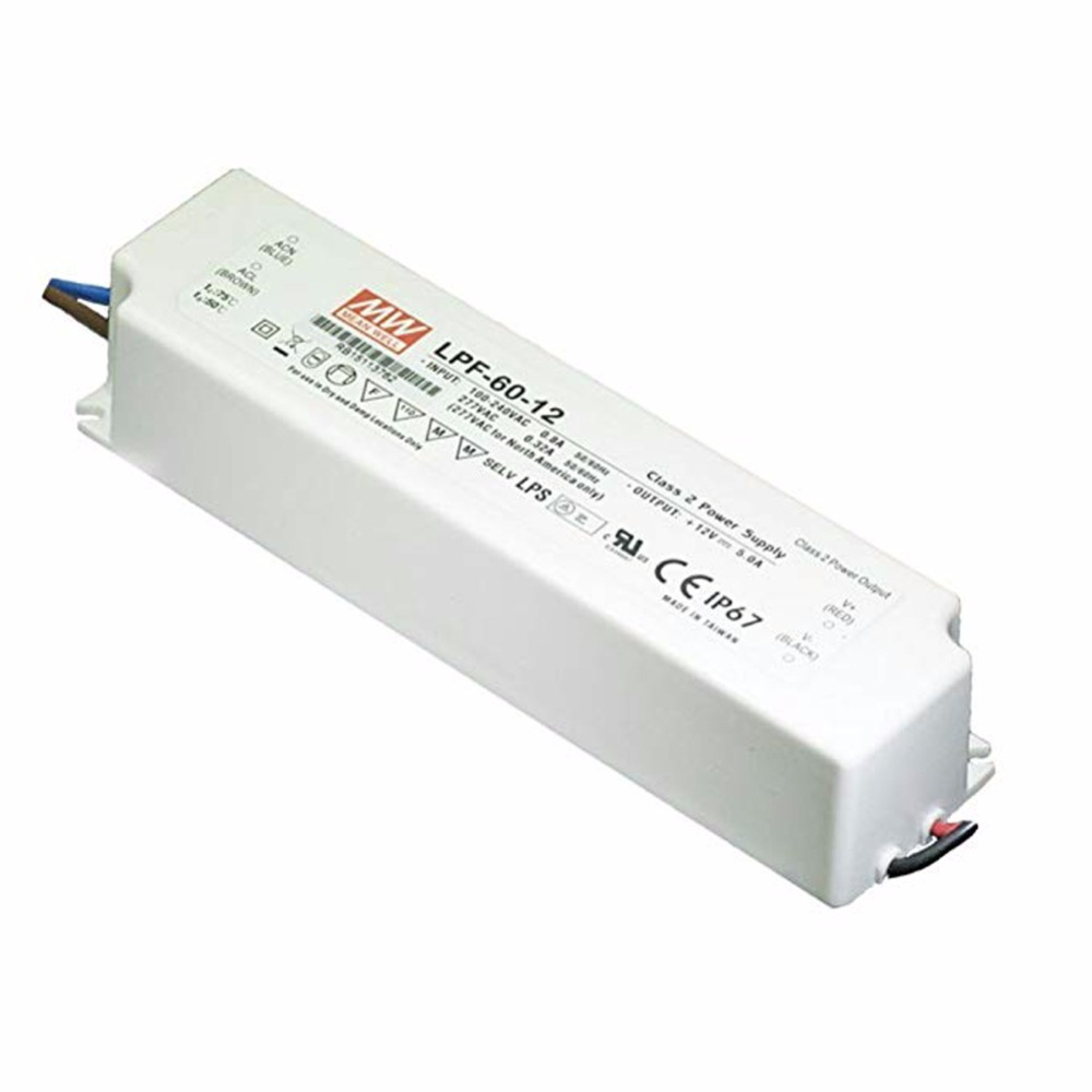 Original Meanwell LPF-60-12 60W 12V 5A constant current power supply PFC for LED lighting цена