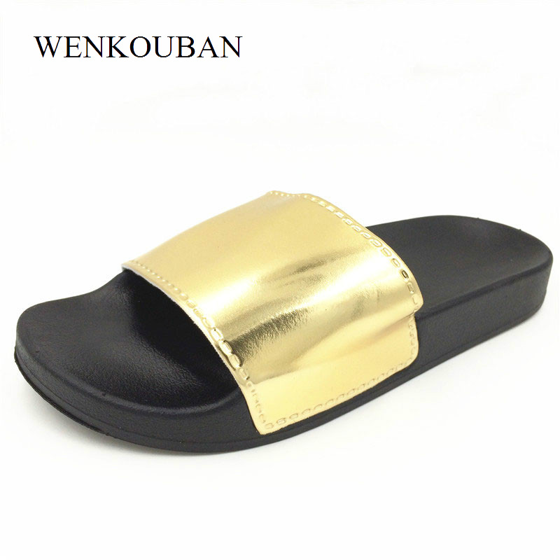 Beach Slippers Women Bathroom Slippers Summer Bling Slides Unisex Flat Shoes Ladies Indoor Slippers Casual Mules zapatos mujer 2018 summer ladies thick bottom drag slope beach shoes for women casual non slip flat bottomed slippers female slides shoes