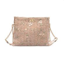 2019  Bali Island Bohemia Beach Women's Ladies Hand Woven Bag Rattan Lace Straw Bag Ladies Flower Printing Bags Messenger Bags