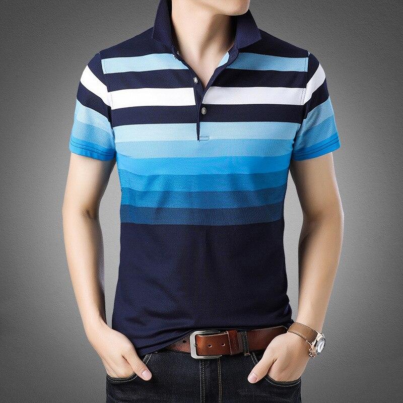 Camisa polo masculina venda quente 2019 listrado fino respirável algodão casual curto algodão alta quantidade harajuku moda esportiva masculina