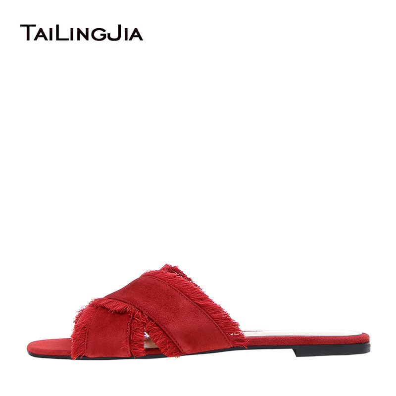 Women Cross Band Red Suede Slippers Black Satin Fringe Beach Shoes Dark Blue Velvet Flat Sandals Vacation Shoes Wholesale 2018