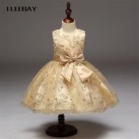 Elegant Flower Girl Dresses For Weddings Kids WhitePrincess Bow Embroidery Evening Dress Children Graduation Gown Stitch