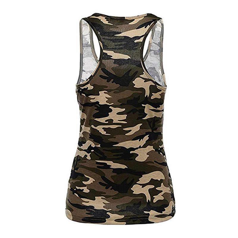 Camiseta Casual de camuflaje de caza para mujer, camiseta de verano, camiseta sin mangas, camiseta sin mangas, Chaleco corto para correr, ropa de Yoga