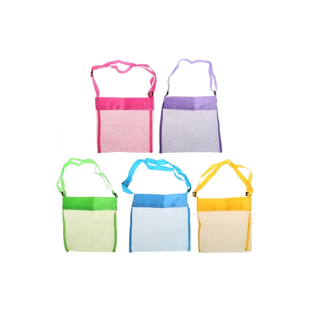 bb6a37e627c Portable Kids Sand Away Mesh Beach Bag Shell Collection Carrying Toys  Storage