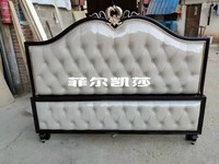 modern european solid wood bed Fashion Carved leather french bedroom furniture FEKS002